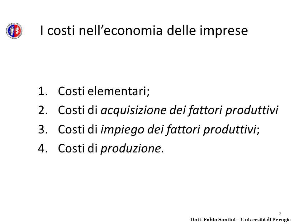 I costi nell'economia delle imprese