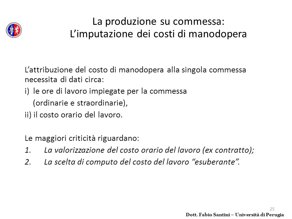 La produzione su commessa: L'imputazione dei costi di manodopera