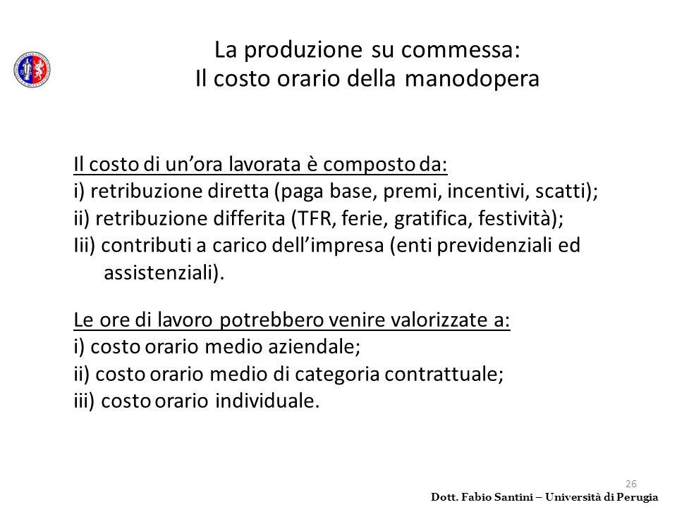La produzione su commessa: Il costo orario della manodopera