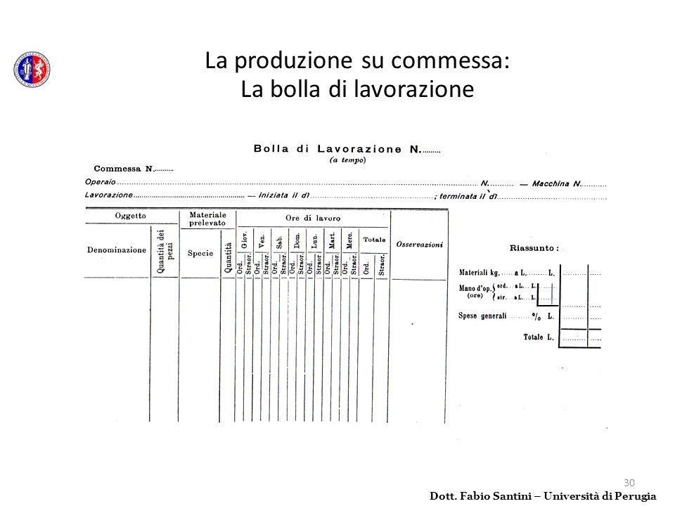 La produzione su commessa: La bolla di lavorazione