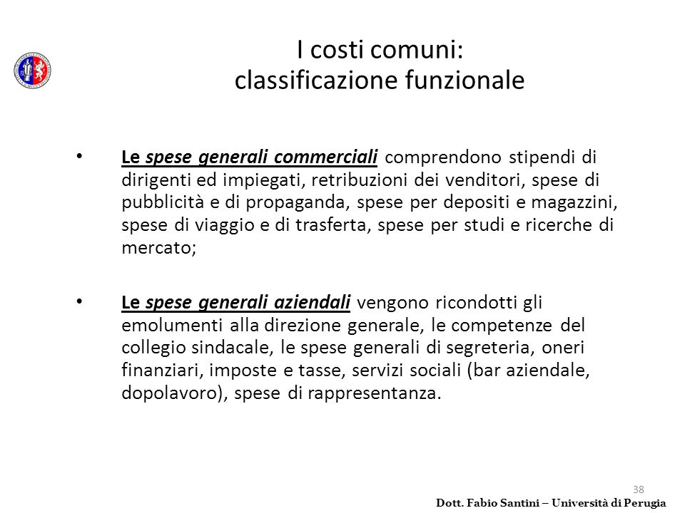 I costi comuni: classificazione funzionale