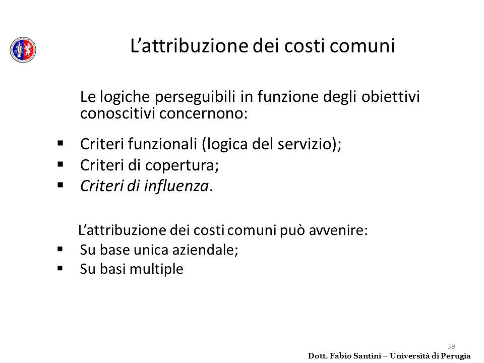 L'attribuzione dei costi comuni