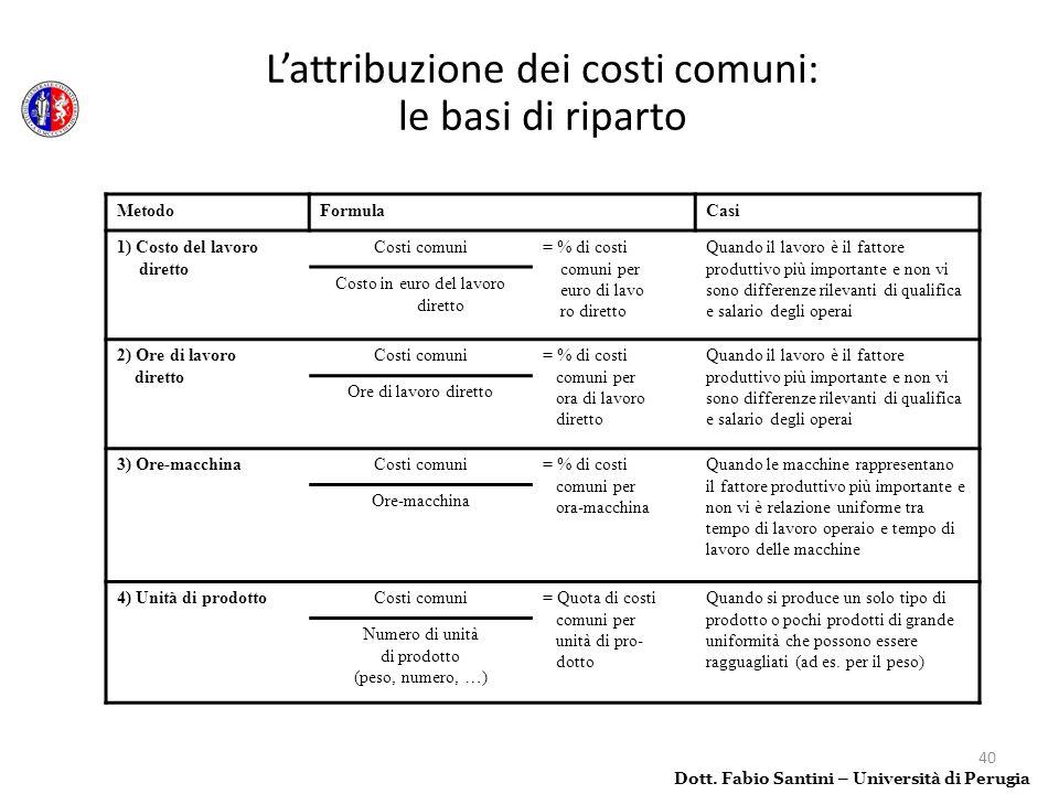 L'attribuzione dei costi comuni: le basi di riparto