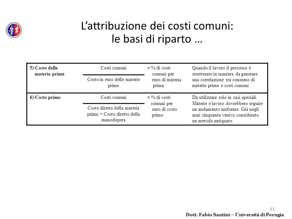 L'attribuzione dei costi comuni: le basi di riparto …