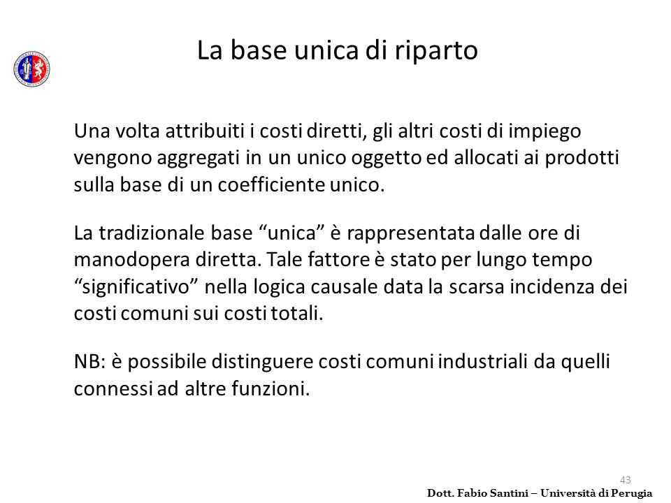 La base unica di riparto