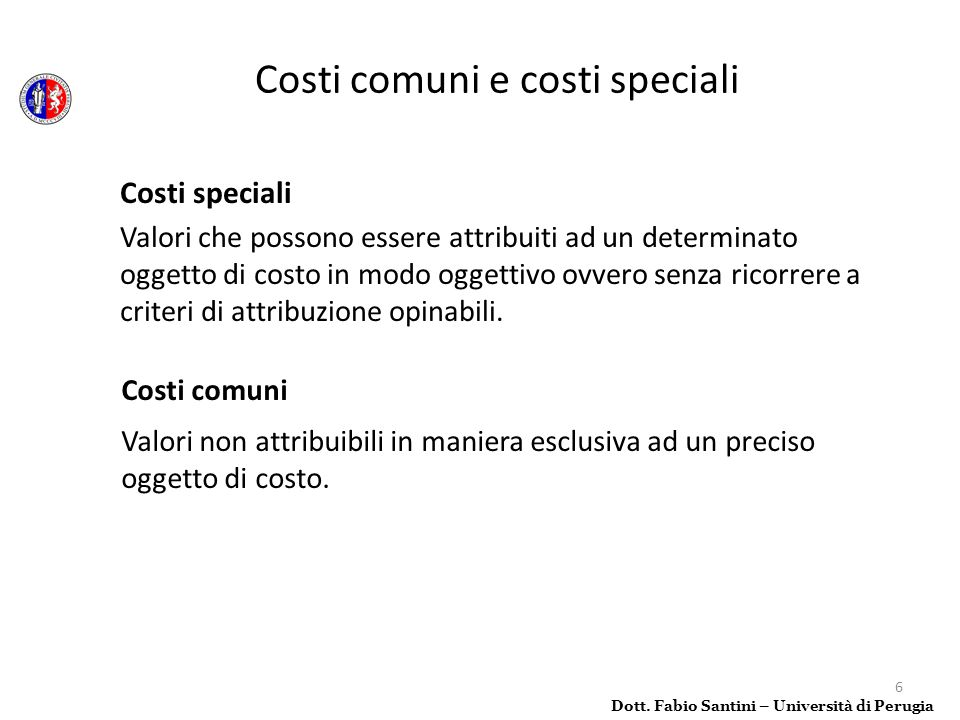 Costi comuni e costi speciali
