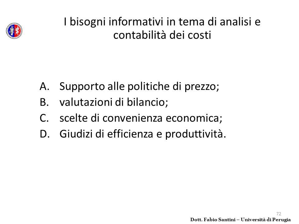 I bisogni informativi in tema di analisi e contabilità dei costi