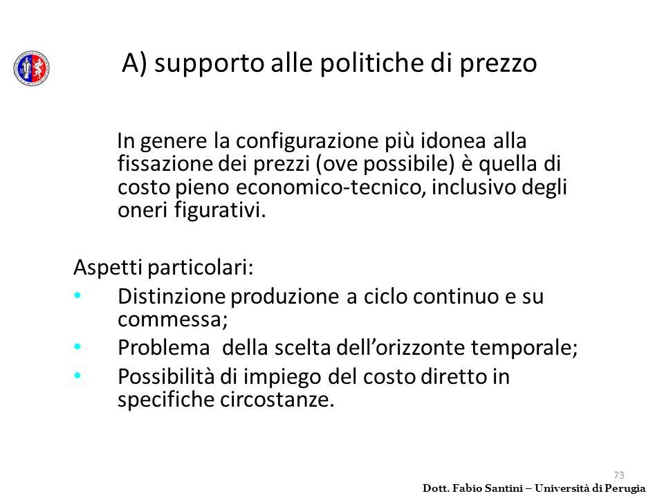 A) supporto alle politiche di prezzo