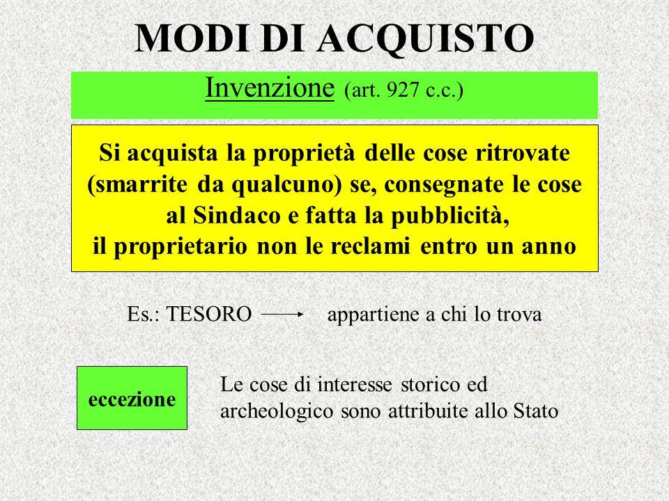MODI DI ACQUISTO Invenzione (art. 927 c.c.)