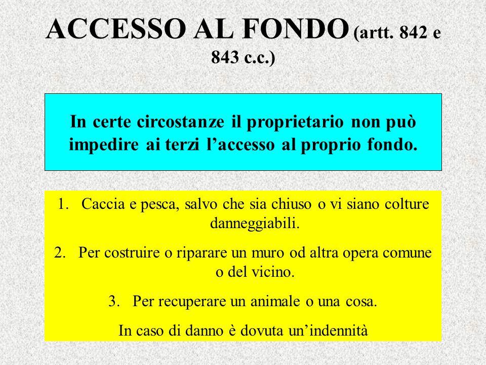 ACCESSO AL FONDO (artt. 842 e 843 c.c.)