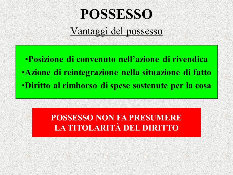 POSSESSO Vantaggi del possesso