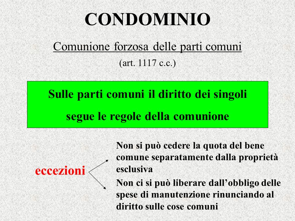 CONDOMINIO eccezioni Comunione forzosa delle parti comuni