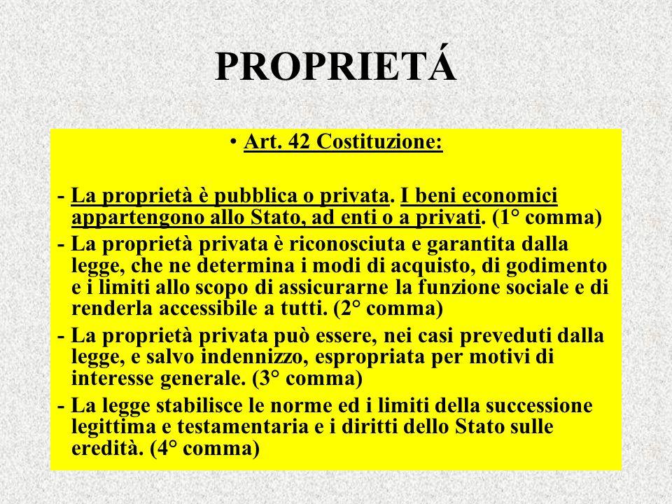 PROPRIETÁ Art. 42 Costituzione: