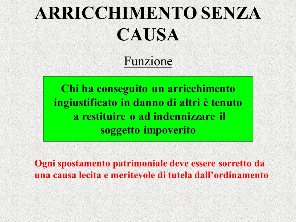 ARRICCHIMENTO SENZA CAUSA