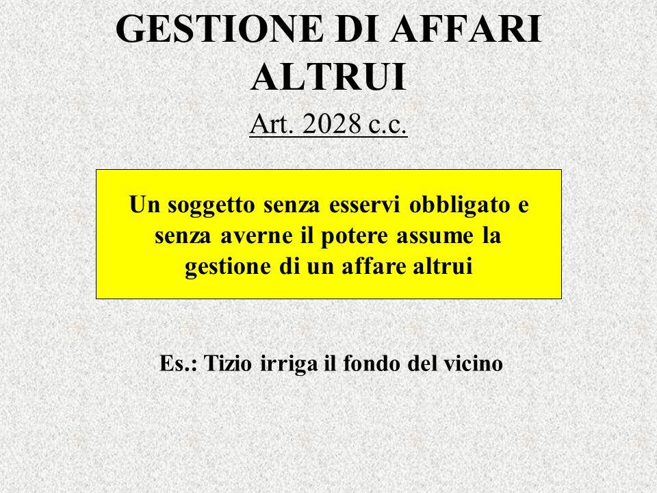 GESTIONE DI AFFARI ALTRUI