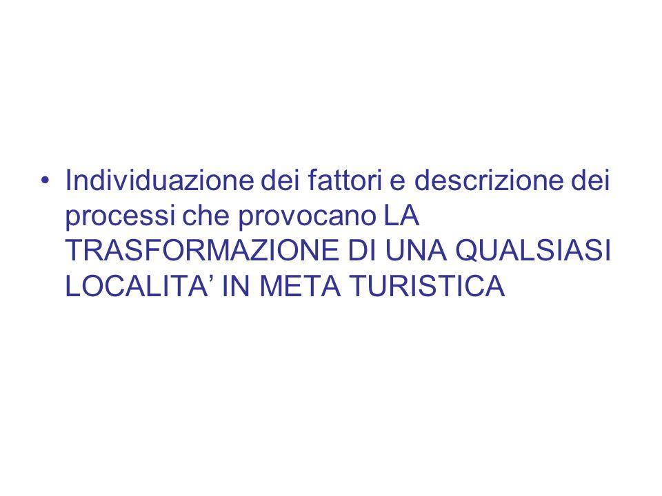 Individuazione dei fattori e descrizione dei processi che provocano LA TRASFORMAZIONE DI UNA QUALSIASI LOCALITA' IN META TURISTICA