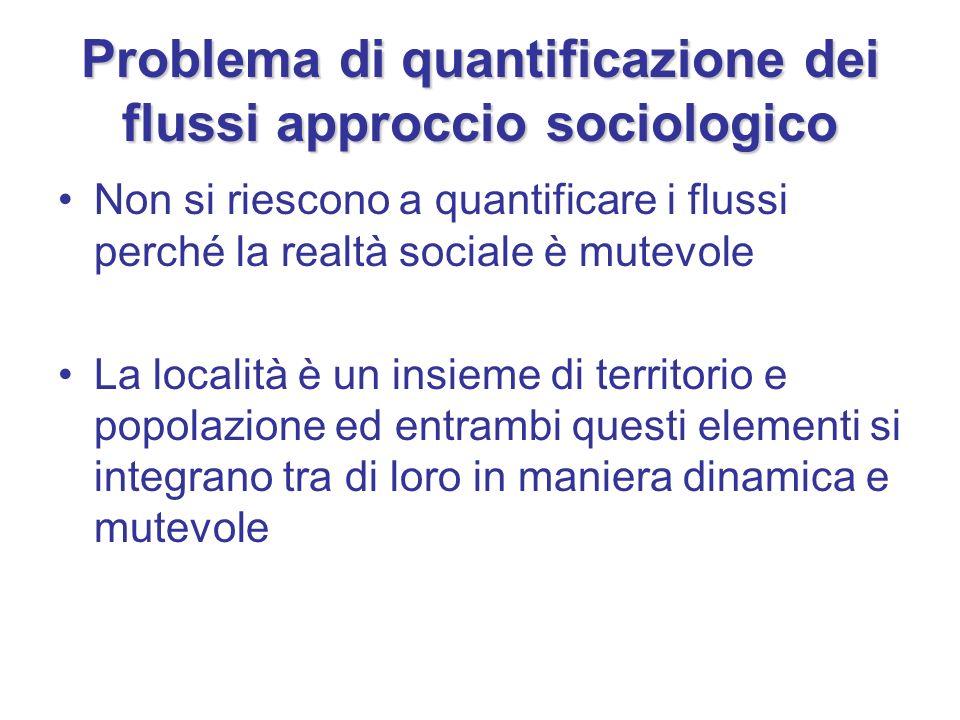 Problema di quantificazione dei flussi approccio sociologico