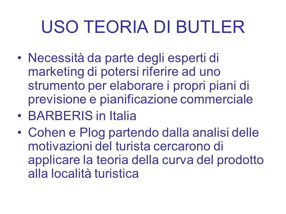 USO TEORIA DI BUTLER