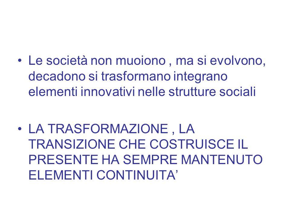 Le società non muoiono , ma si evolvono, decadono si trasformano integrano elementi innovativi nelle strutture sociali