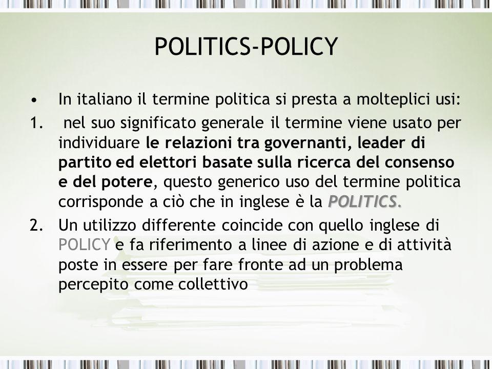 POLITICS-POLICY In italiano il termine politica si presta a molteplici usi: