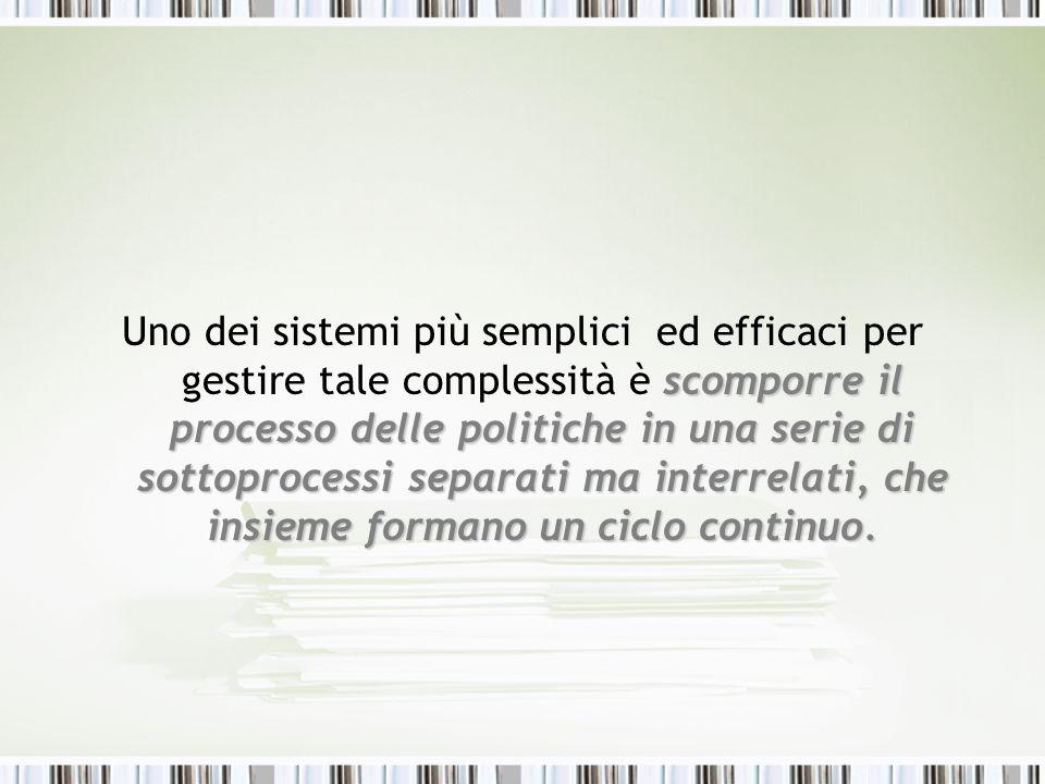 Uno dei sistemi più semplici ed efficaci per gestire tale complessità è scomporre il processo delle politiche in una serie di sottoprocessi separati ma interrelati, che insieme formano un ciclo continuo.