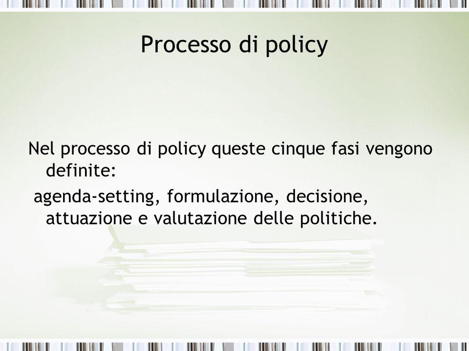 Processo di policyNel processo di policy queste cinque fasi vengono definite: