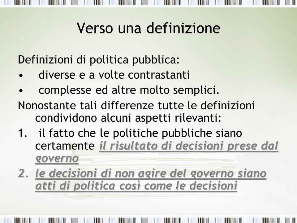Verso una definizione Definizioni di politica pubblica: