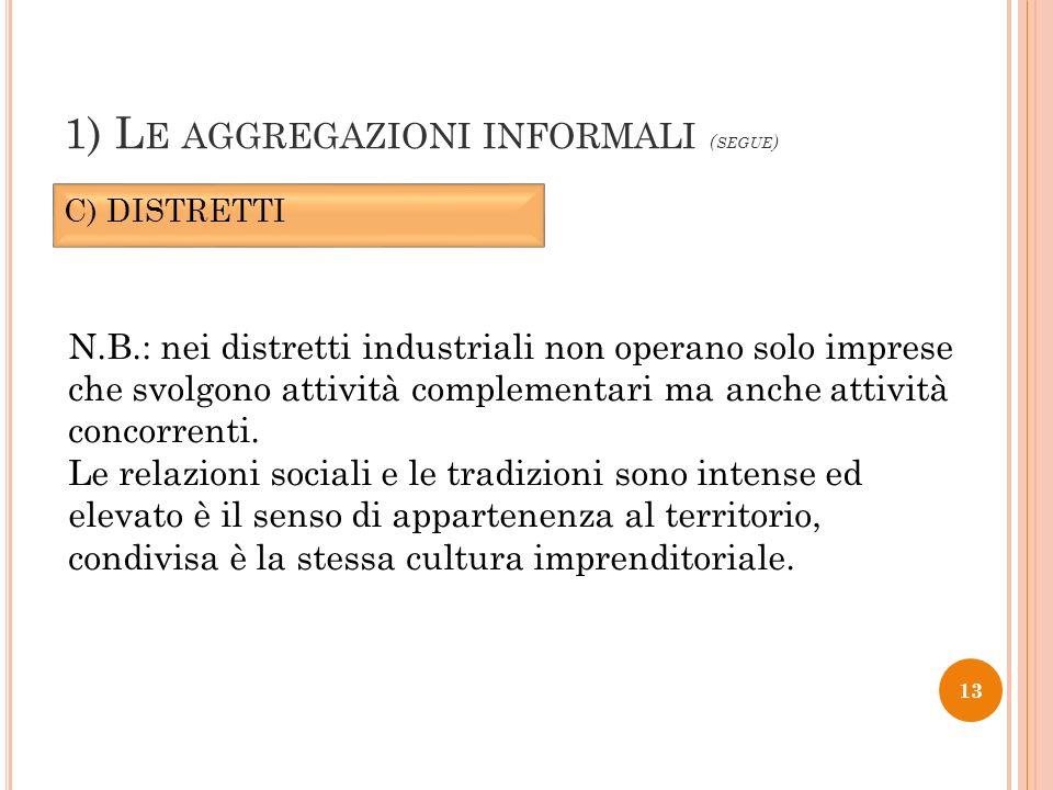 1) Le aggregazioni informali (segue)