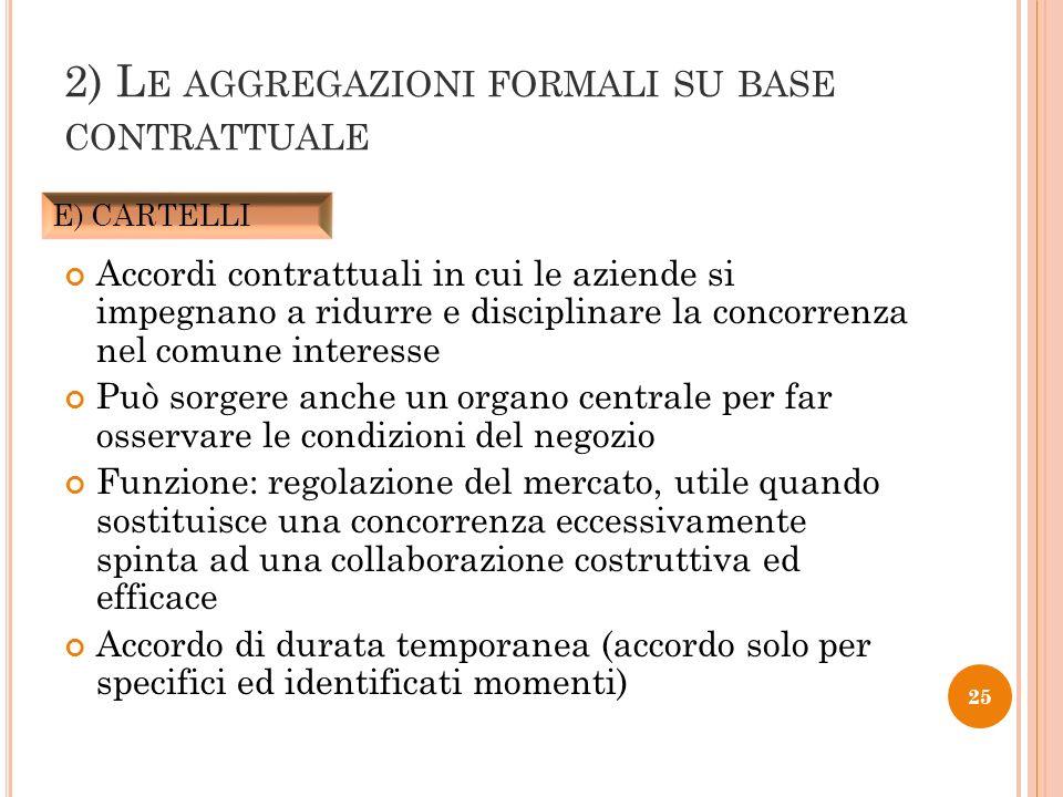 2) Le aggregazioni formali su base contrattuale