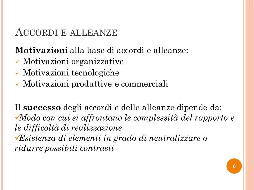 Accordi e alleanze Motivazioni alla base di accordi e alleanze: