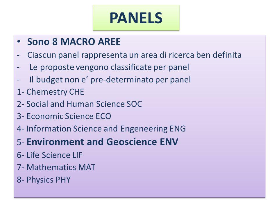 PANELS Sono 8 MACRO AREE. Ciascun panel rappresenta un area di ricerca ben definita. Le proposte vengono classificate per panel.
