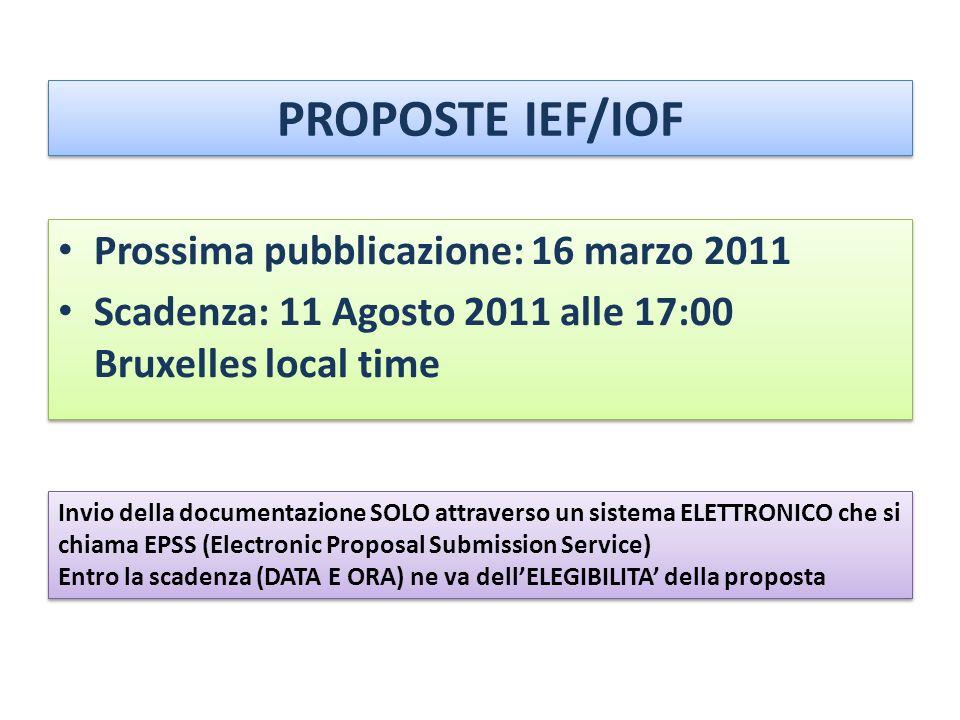 PROPOSTE IEF/IOF Prossima pubblicazione: 16 marzo 2011