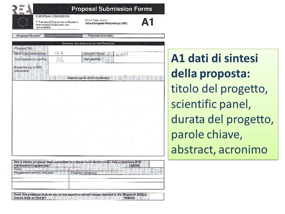A1 dati di sintesi della proposta: titolo del progetto, scientific panel, durata del progetto,