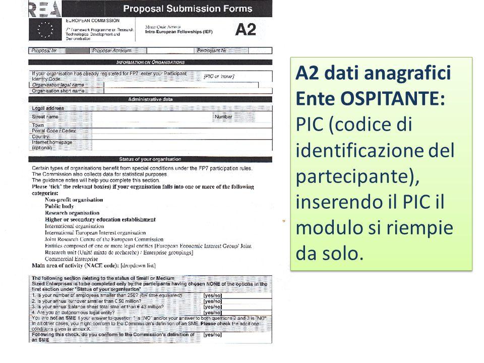 A2 dati anagrafici Ente OSPITANTE: PIC (codice di identificazione del partecipante), inserendo il PIC il modulo si riempie da solo.