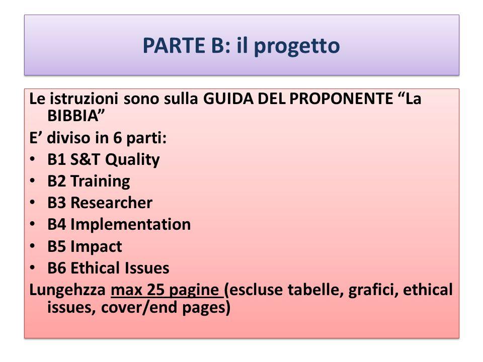 PARTE B: il progetto Le istruzioni sono sulla GUIDA DEL PROPONENTE La BIBBIA E' diviso in 6 parti: