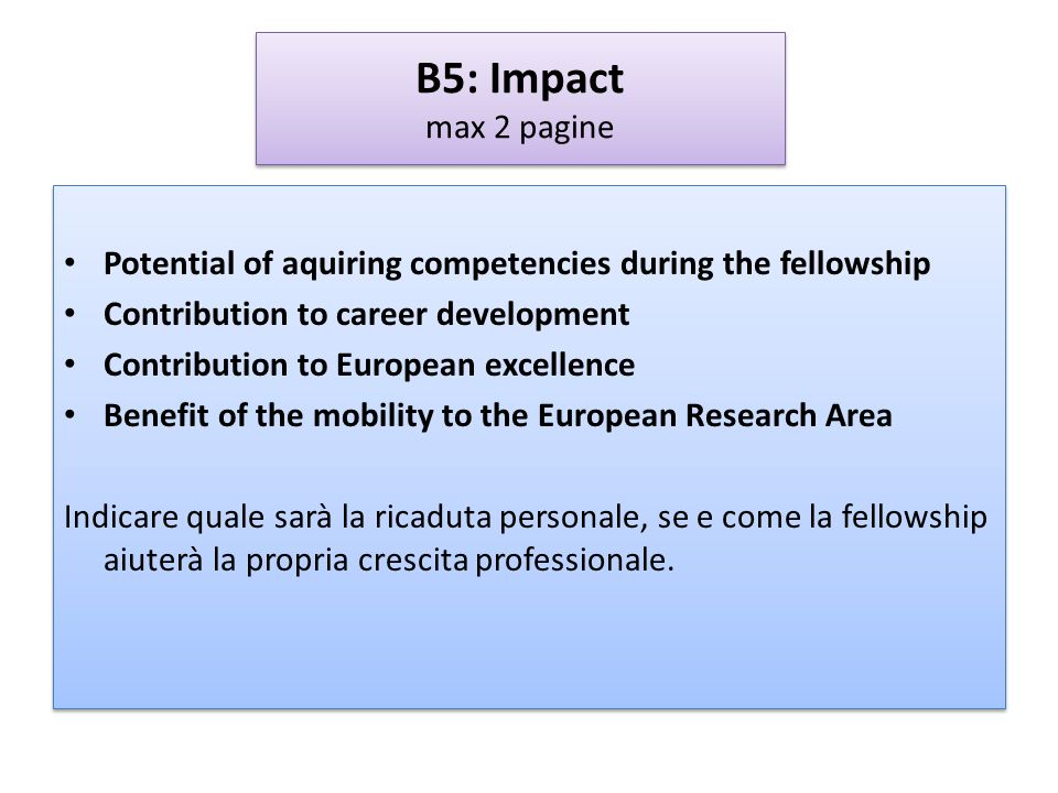 B5: Impact max 2 paginePotential of aquiring competencies during the fellowship. Contribution to career development.