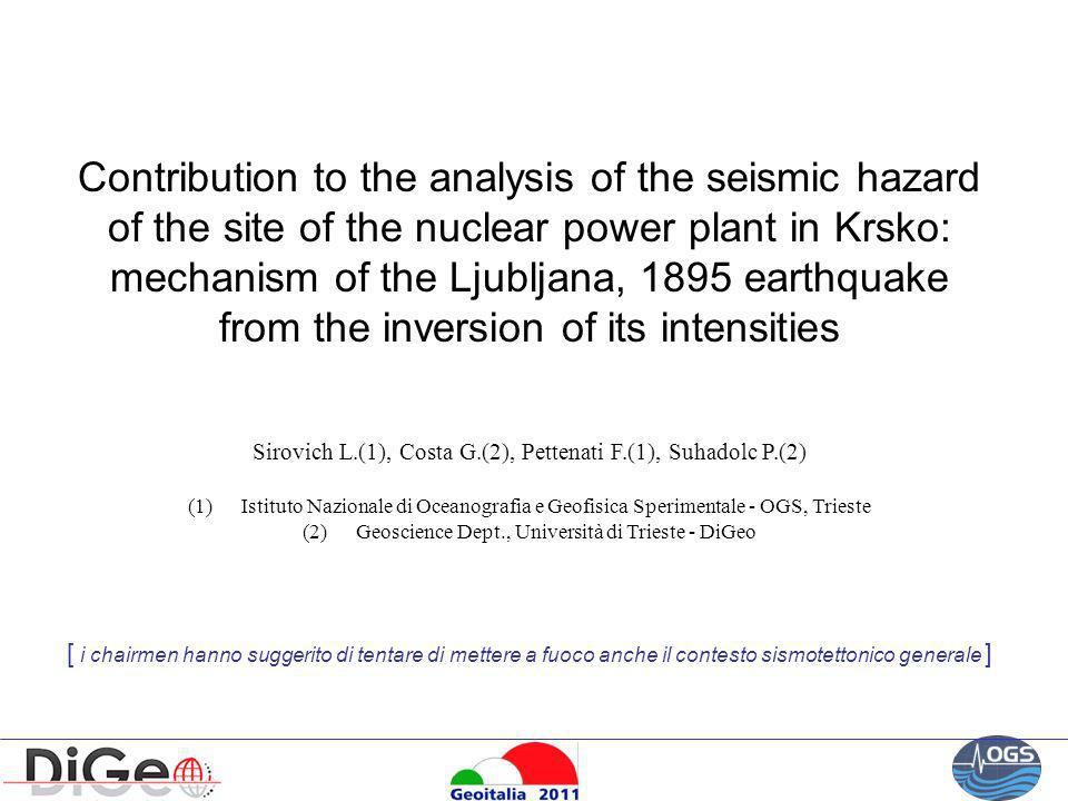 Contribution to the analysis of the seismic hazard