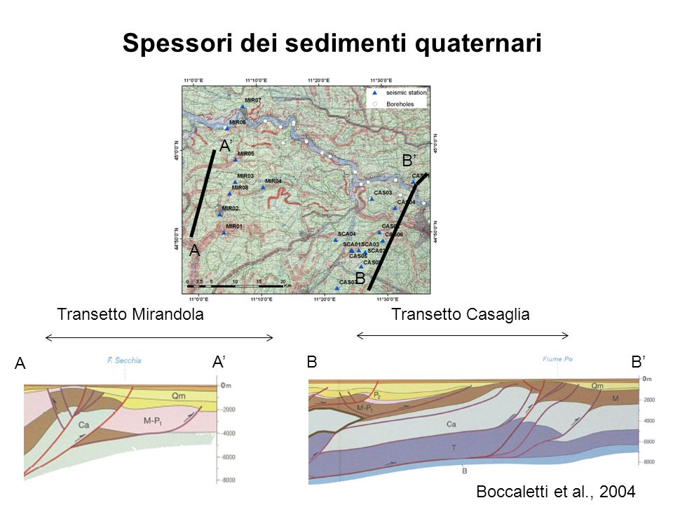 Spessori dei sedimenti quaternari