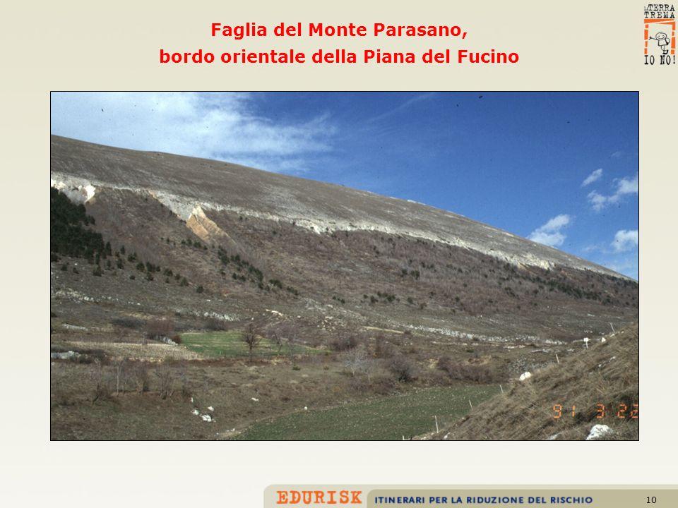 Faglia del Monte Parasano, bordo orientale della Piana del Fucino