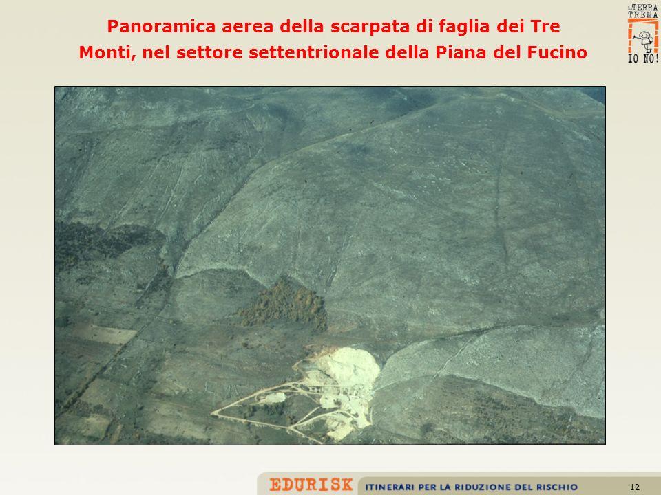 Panoramica aerea della scarpata di faglia dei Tre Monti, nel settore settentrionale della Piana del Fucino