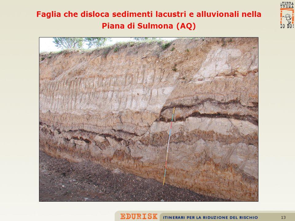 Faglia che disloca sedimenti lacustri e alluvionali nella Piana di Sulmona (AQ)