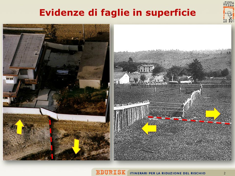 Evidenze di faglie in superficie