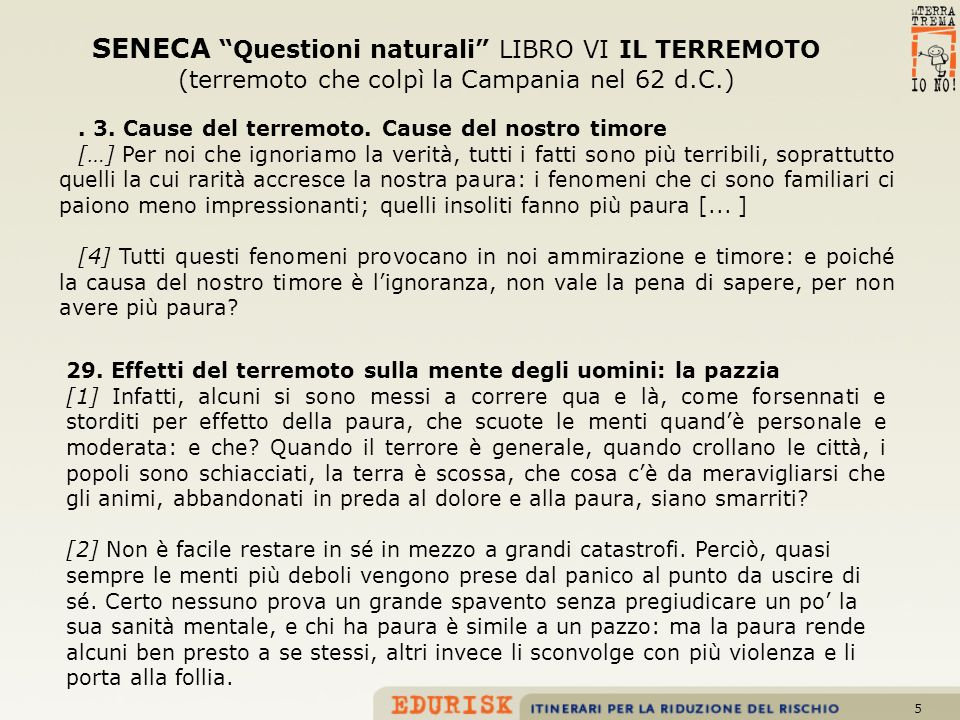 SENECA Questioni naturali LIBRO VI IL TERREMOTO