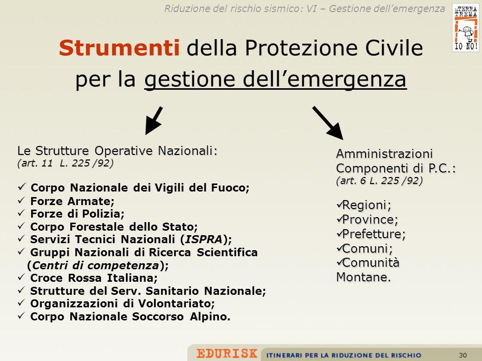 Strumenti della Protezione Civile per la gestione dell'emergenza