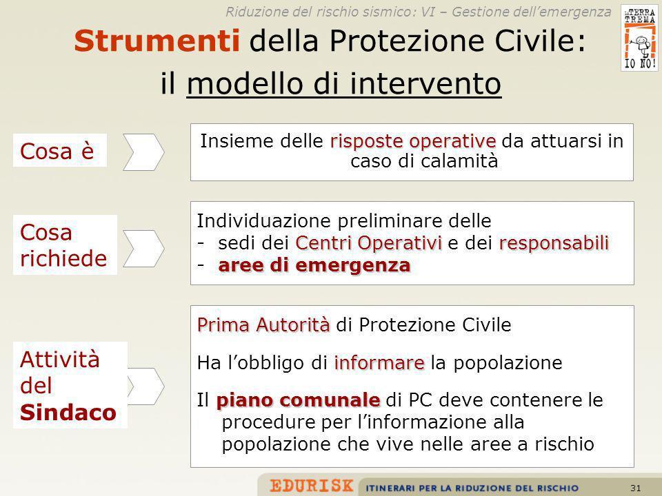 Strumenti della Protezione Civile: il modello di intervento