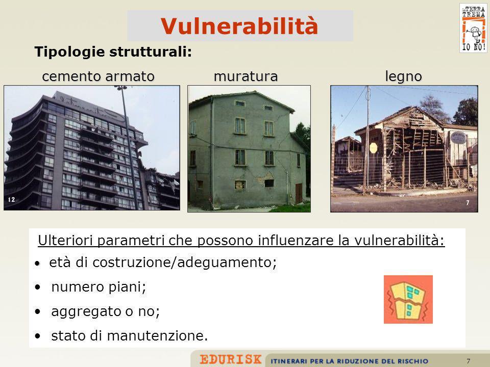 Vulnerabilità cemento armato muratura legno numero piani;