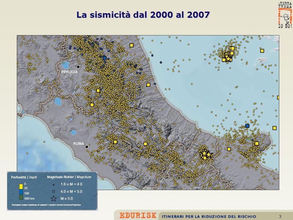 La sismicità dal 2000 al 2007