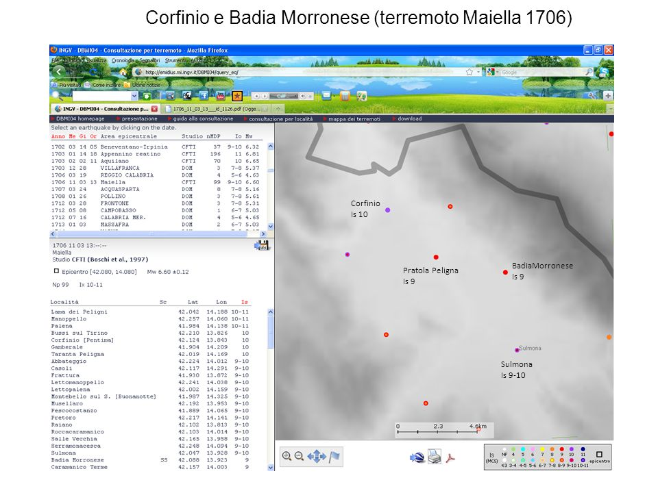 Corfinio e Badia Morronese (terremoto Maiella 1706)