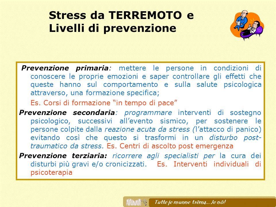 Stress da TERREMOTO e Livelli di prevenzione