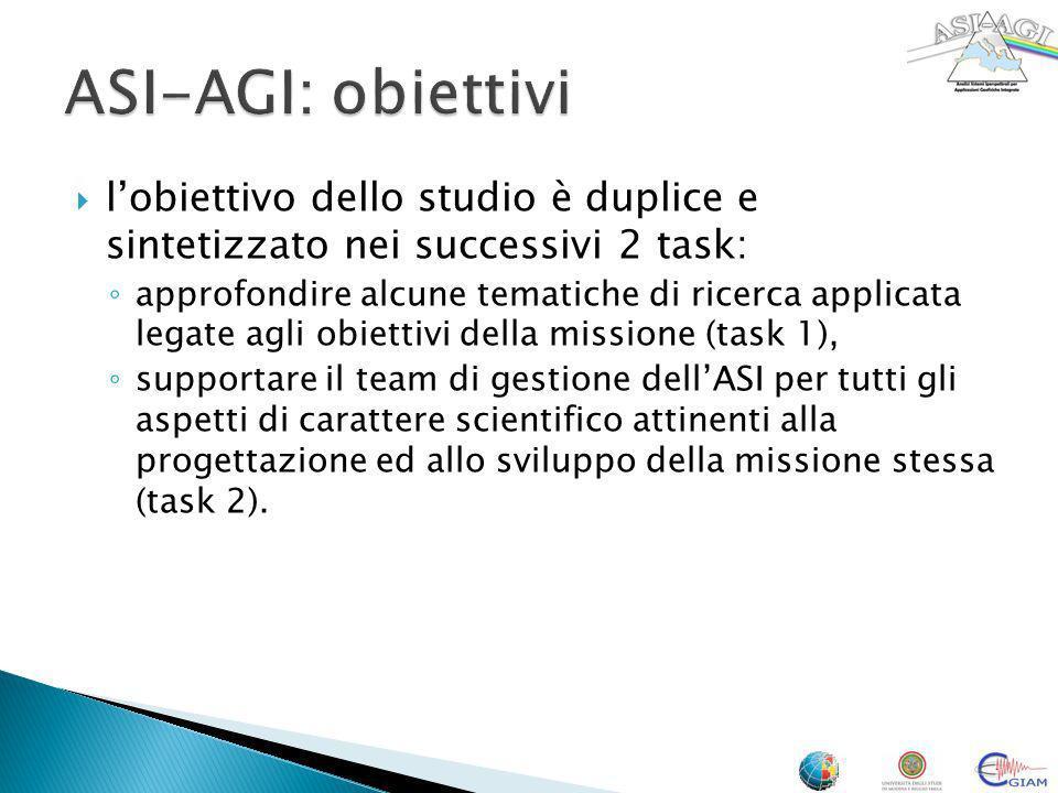 ASI-AGI: obiettivi l'obiettivo dello studio è duplice e sintetizzato nei successivi 2 task:
